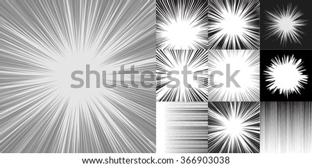 Comic book speed horizontal lines background set of ten editable images with radial and horizontal beams - stock vector