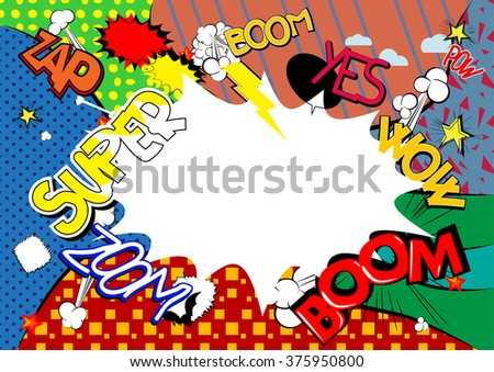 Comic book style abstract background with words and blank space. - stock vector
