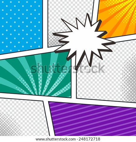 comic book template with speech bubble and halftone art - stock vector