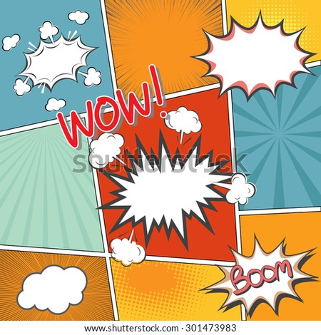 comic book template with speech bubbles element