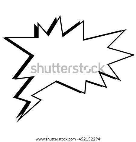 Comic bubble in black and white colors, vector illustration isolated flat icon.