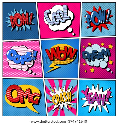 Comic Bubbles Set. Expressions Bom, Cool, Pow, Oops, Wow, Dream, Omg, Crash, Yeah. Halftone Background. Pop Art. Vector illustration - stock vector