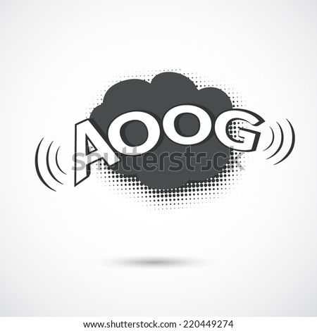 Comic bubbles vector isolated black and white illustration, alarm sound - stock vector