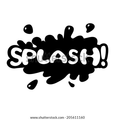 Comic bubbles vector isolated black and white illustration, splashing sound - stock vector