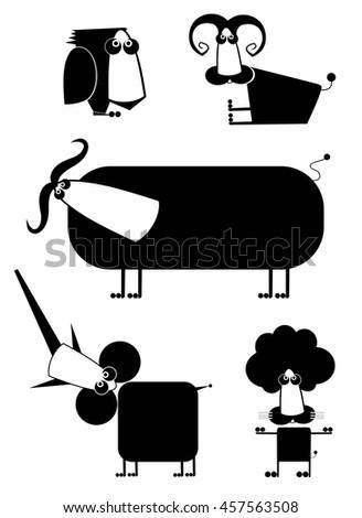 Comic cartoon funny animals set for design - stock vector