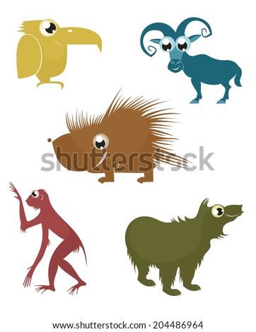 Comic cartoon funny animals silhouette set for design  - stock vector