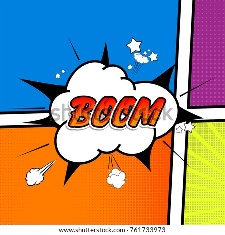 Comic collection - word boom, colored sound chat text effects pop art vector style. 3d font.