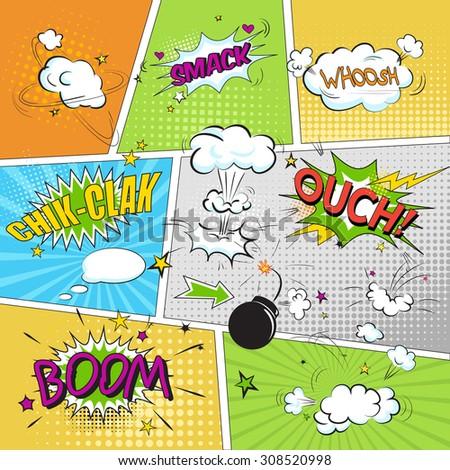 Comic colored speech bubbles in pop art style vs net - stock vector