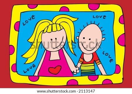 comic couple - stock vector