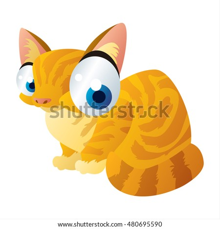 comic cute cartoon  illustration of domestic red cat