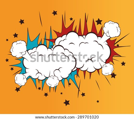 Comic design over orange background, vector illustration.