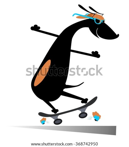 Comic dog rides a skate silhouette - stock vector