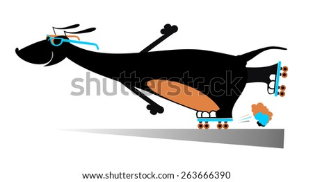 Comic dog roller skates silhouette - stock vector