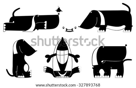 Comic dog silhouette collection - stock vector