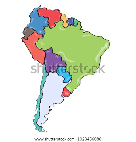 Comic drawing of a political map of South America