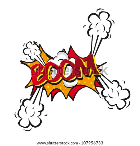 comic explosion and shock, boom. vector illustration