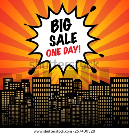 Comic explosion with text Big Sale One Day, vector illustration - stock vector
