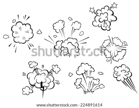 Comic explosions and clouds set in cartoon style - stock vector