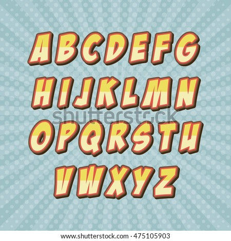 Ben noto Comic Font Alphabet Pop Art Vector Stock Vector 475105903  ZD82