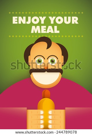 Comic guy with hot dog. Vector illustration. - stock vector