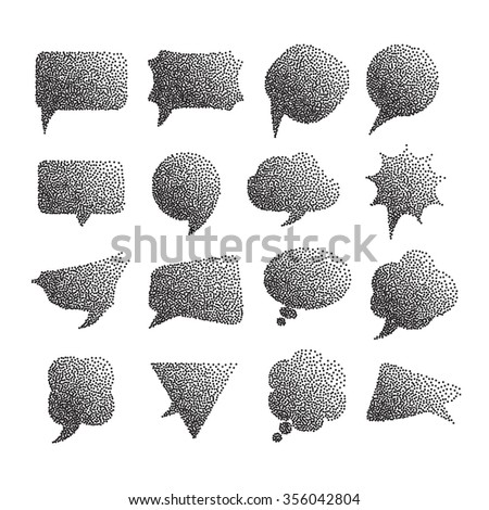 Comic halftone dotted speech bubbles and comic strip on white background vector illustration - stock vector