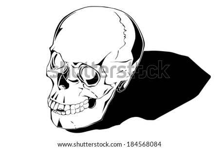 Comic human skull. Fills and outlines are separate groups, colors can be changed easily. Shadow can be removed. - stock vector