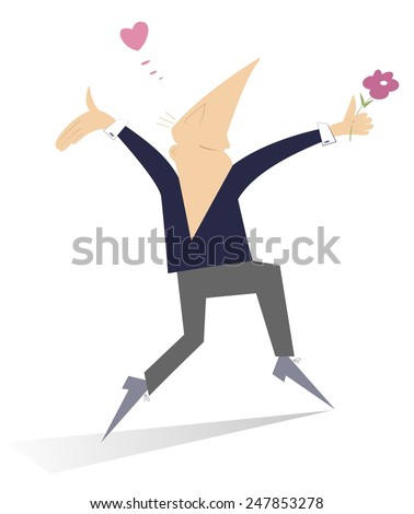 Comic man falls in love and looks happy - stock vector