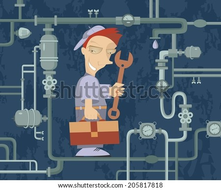 Comic mechanic repairs pipe construction - stock vector