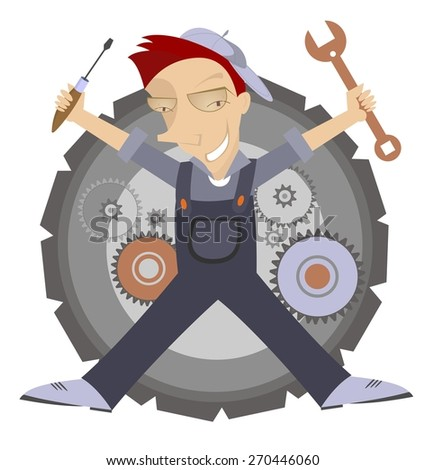 Comic mechanic with wrench and turn-screw in his hands  - stock vector