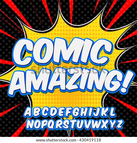 Comic neon alphabet set. Letters, numbers and figures for kids' illustrations, websites, comics, banners.