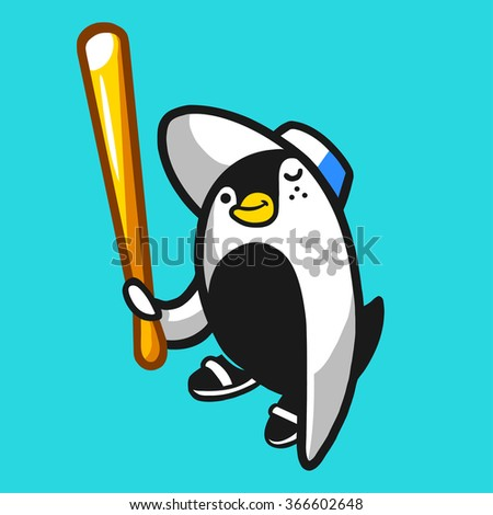 Comic penguin hooligan character holding a baseball bat. Vector illustration. - stock vector