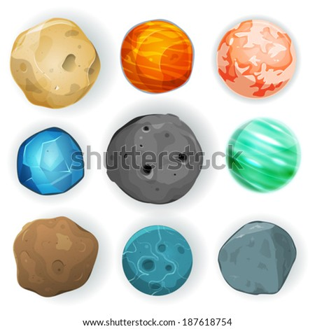 Comic Planets Set/ Illustration of a set of various planets, moons, asteroid and earth globes isolated on white for scifi backgrounds and space game ui - stock vector