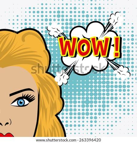 Comic pop art colorful design, vector illustration. - stock vector