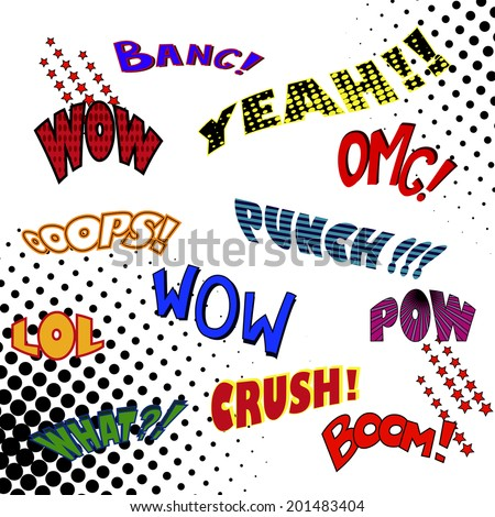 Comic Popart Text Speech vector Illustration for your Decign - stock vector