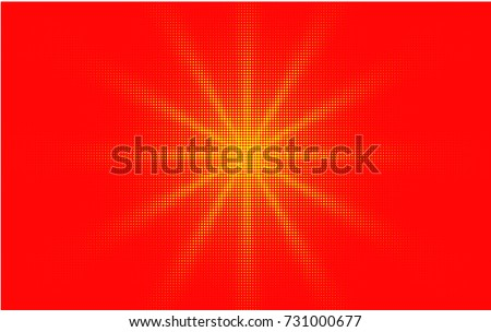 Comic red yellow background dotted gradient halftone pop art retro style design. Shine star or sun.
