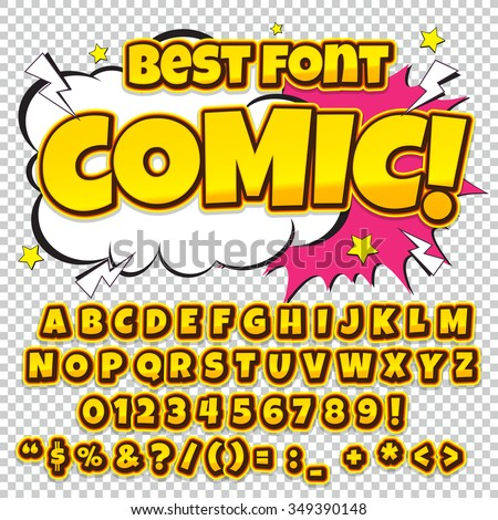 Comic retro alphabet set. Yellow color version. Letters, numbers and figures for kids' illustrations, websites, comics, banners. Easy to use.