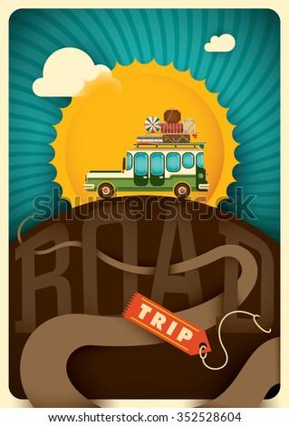 Comic road trip illustration. Vector illustration. - stock vector