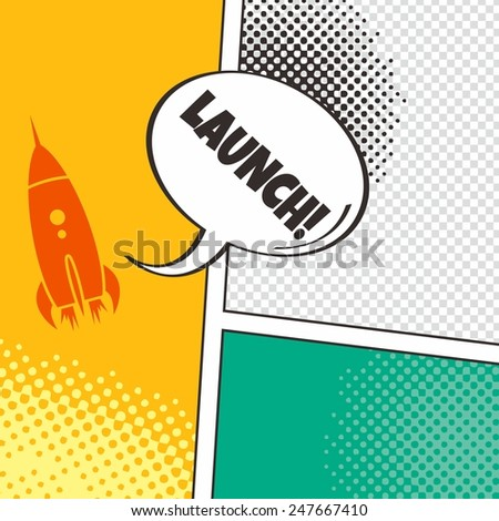 comic rocket - stock vector