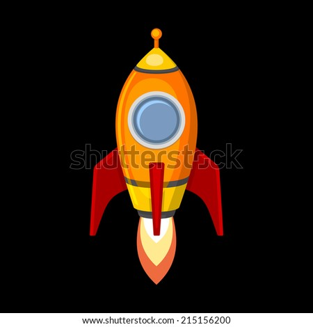 Comic Rocket Ship in Cartoon Style. Isolated on Black. Vector illustration - stock vector