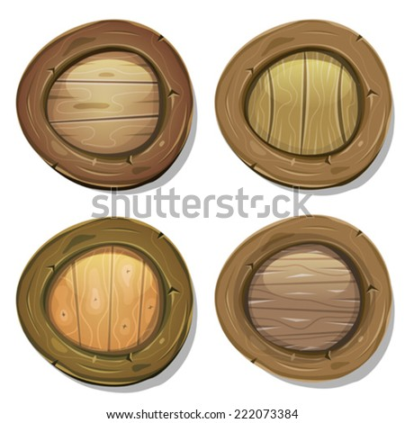 Comic Rounded Wood Viking Shields/ Illustration of a set of cartoon design viking warrior shields, with various wood frames, patterns and textures - stock vector