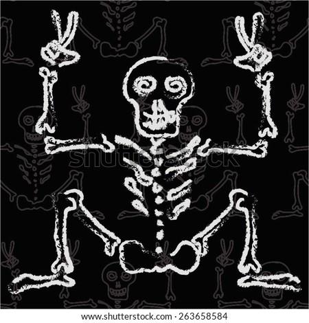 Comic skeleton in a seamless pattern, vector illustration. - stock vector