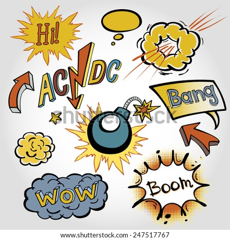comic sound Effects collection cloud vector label wow set design bang art boom