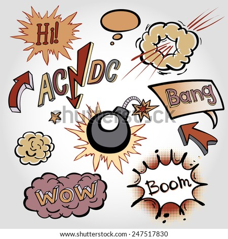 comic sound Effects collection cloud vector label wow set design bang art boom  - stock vector