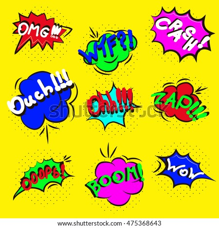 comic sound effects pop art vector stock vector royalty free