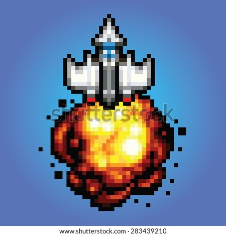 comic space rocket ship - pixel art style Illustration of spaceship blasting off and flying - stock vector