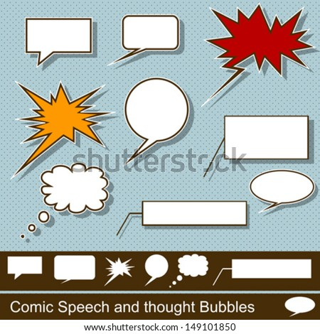 Comic speech and thought bubbles vector set - stock vector