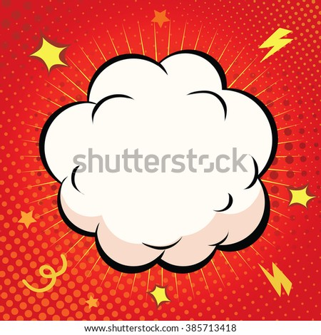 Comic Speech Bubble, Cartoon explosion on red background