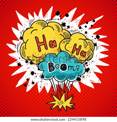 Comic speech bubble colored sketch poster with bomb explosion elements vector illustration - stock vector