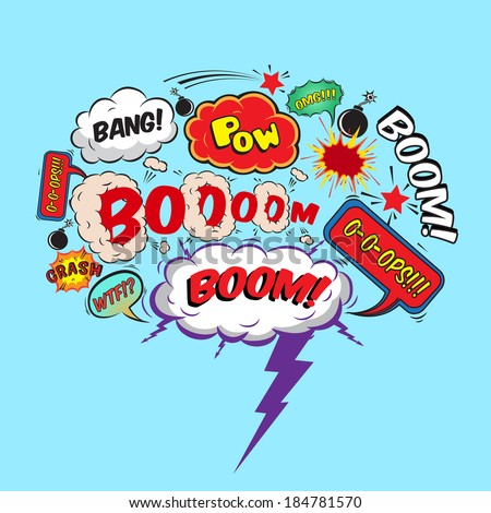 Comic speech bubble design element boom splash bomb symbol vector illustration - stock vector