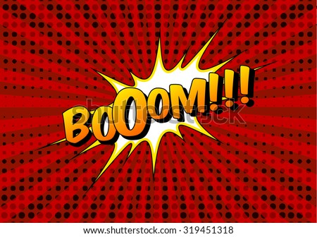 Comic speech bubble. Funny comics explosion vector. Sunburst background with fun text. Boom funny text on red background with black dots. Comic book element. Comic word boom. Comic book art background - stock vector